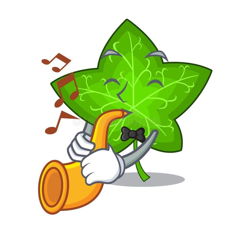 With trumpet fresh green ivy leaf mascot cartoon royalty free illustration