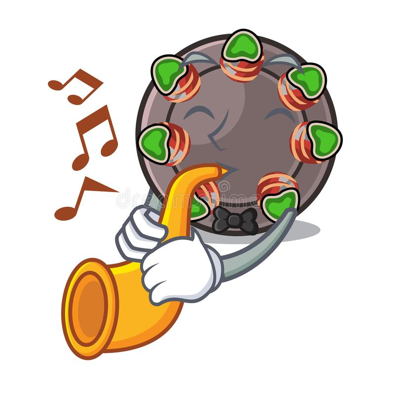 With trumpet fried escargot in a cartoon hot pan royalty free illustration