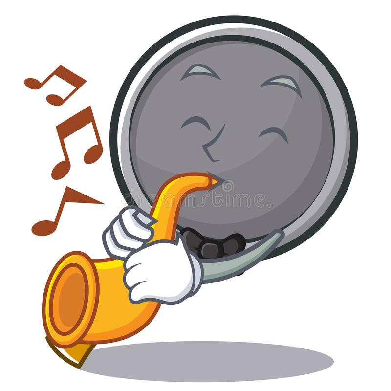 With trumpet frying pan cartoon character. Vector illustration royalty free illustration