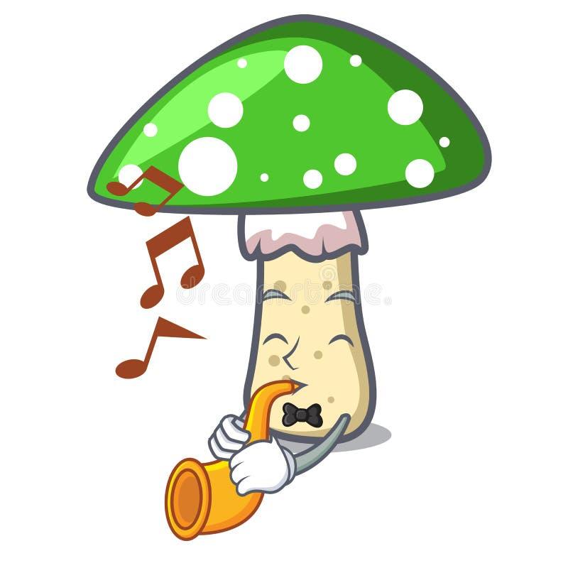 With trumpet green amanita mushroom mascot cartoon royalty free illustration