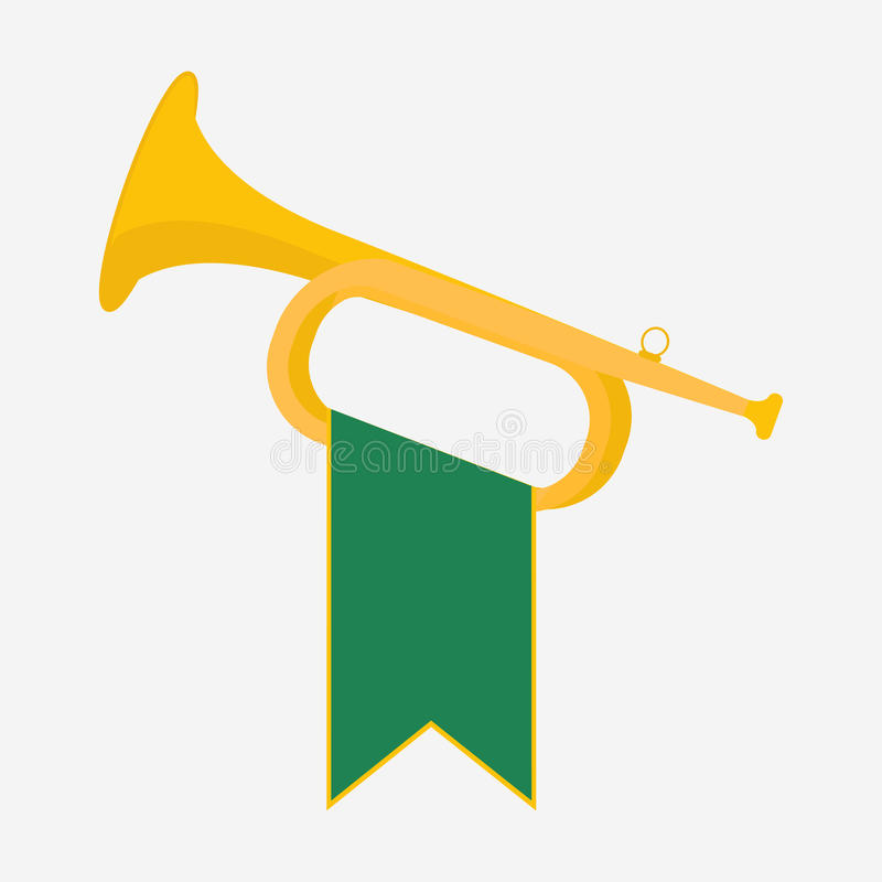 Trumpet with green royalty free illustration