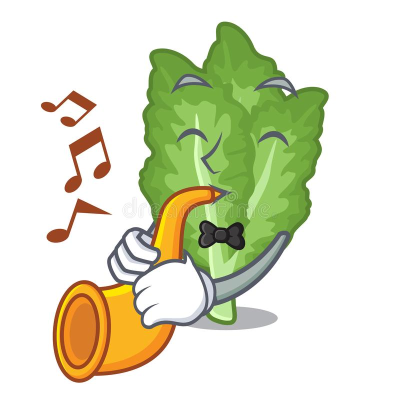 With trumpet green mustard in the cartoon shape royalty free illustration
