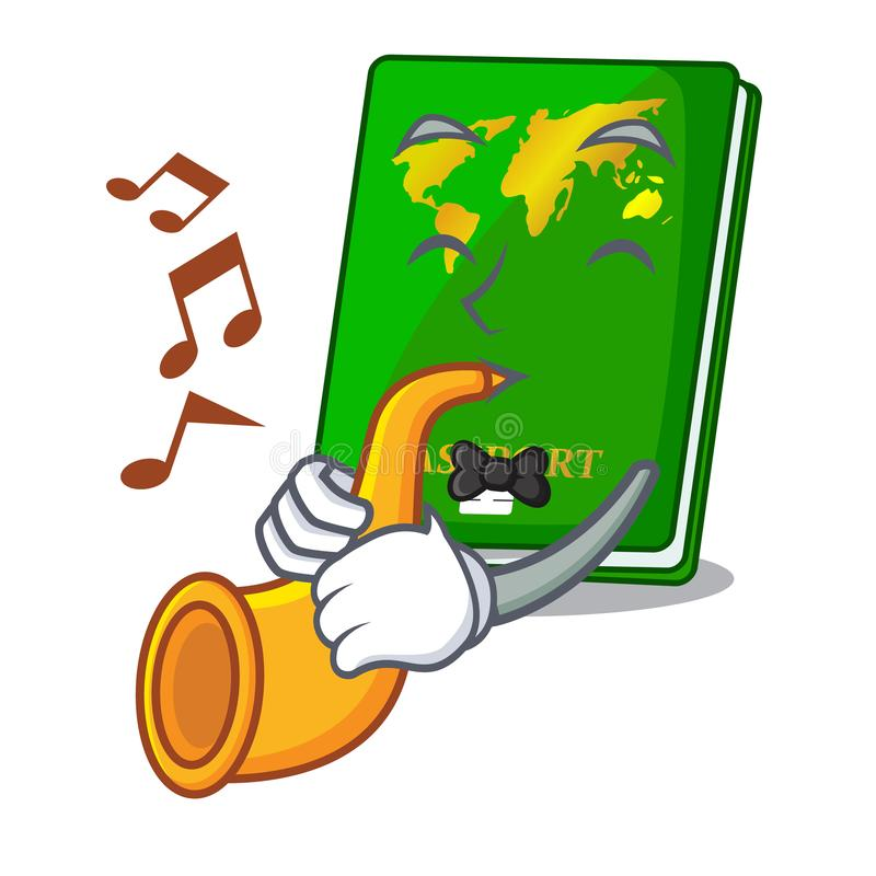 With trumpet green passports isolated in the cartoons vector illustration