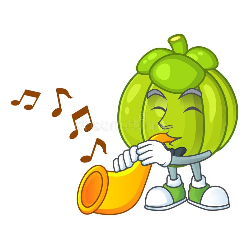 With trumpet green pumpkin ripe on a white background. Vector illustration royalty free illustration