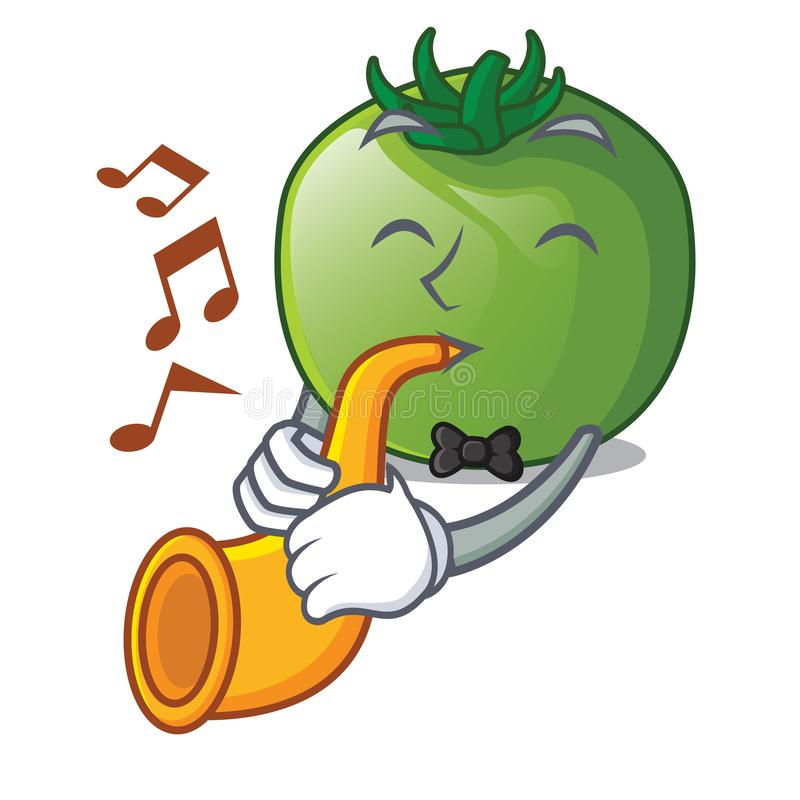 With trumpet green tomato obove the character table stock illustration