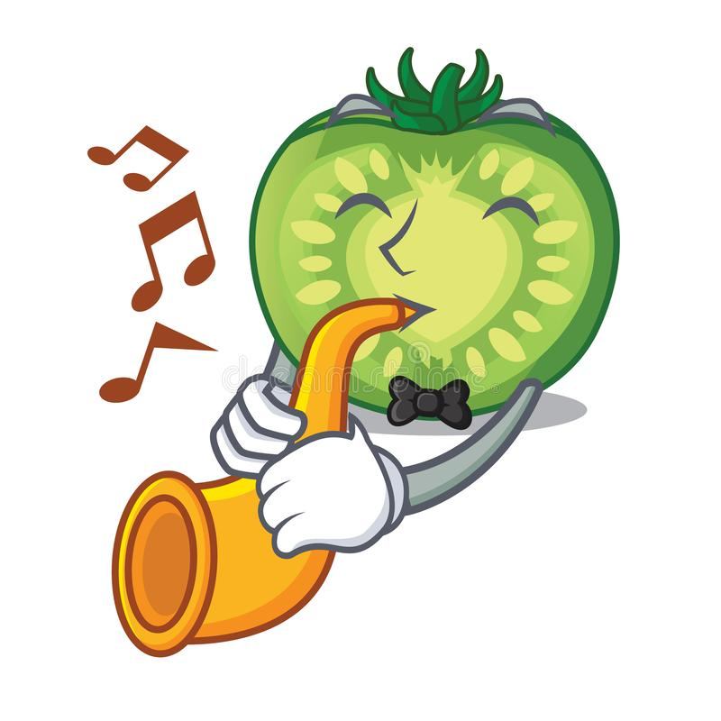 With trumpet green tomato slices in cartoon shape vector illustration