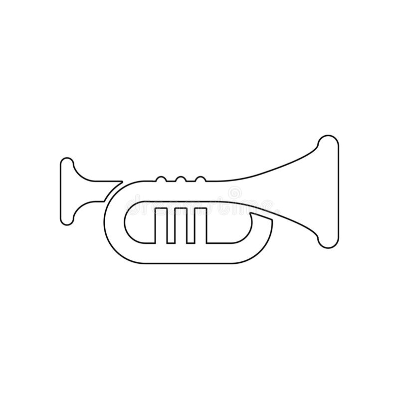 Trumpet icon. Element of music instrument for mobile concept and web apps icon. Outline, thin line icon for website design and vector illustration