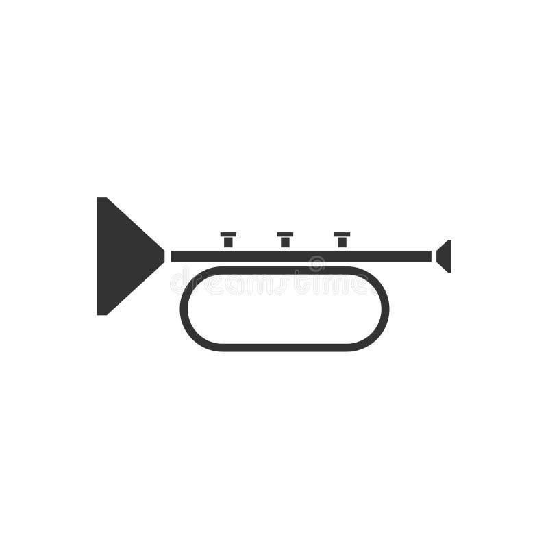 Trumpet icon flat. Trumpet. Black Icon Flat on white background royalty free illustration