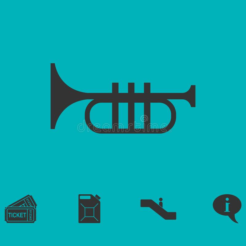 Trumpet icon flat. Simple vector symbol and bonus icon stock illustration