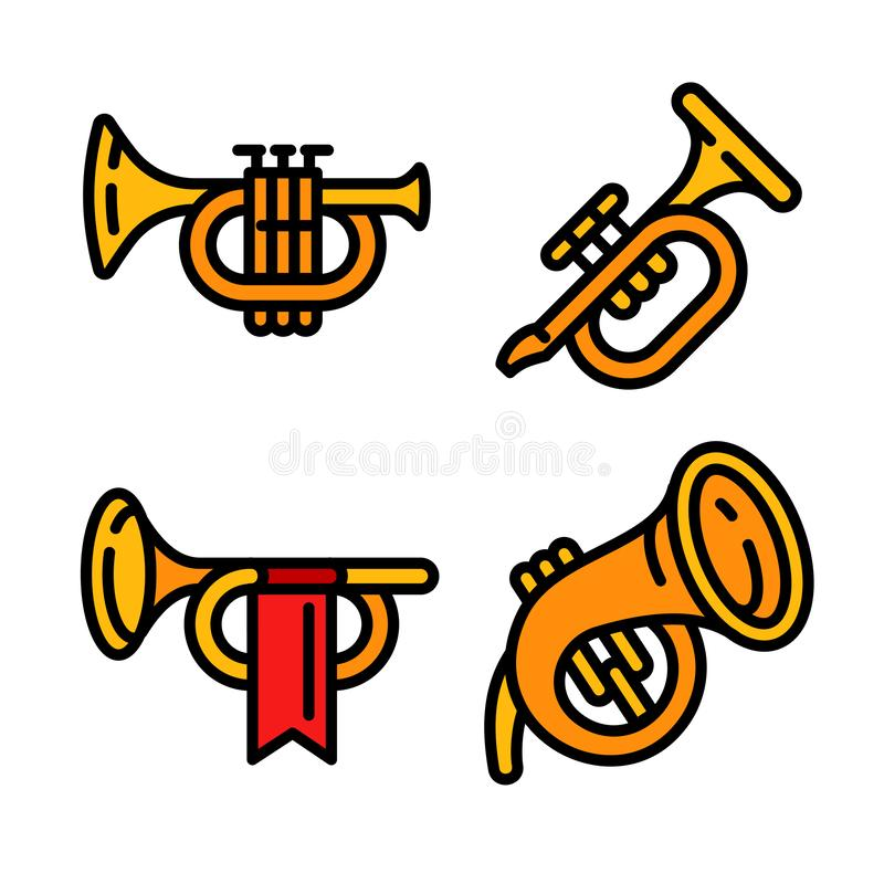 Trumpet icons set, outline style. Trumpet icons set. Outline set of trumpet vector icons for web design isolated on white background royalty free illustration