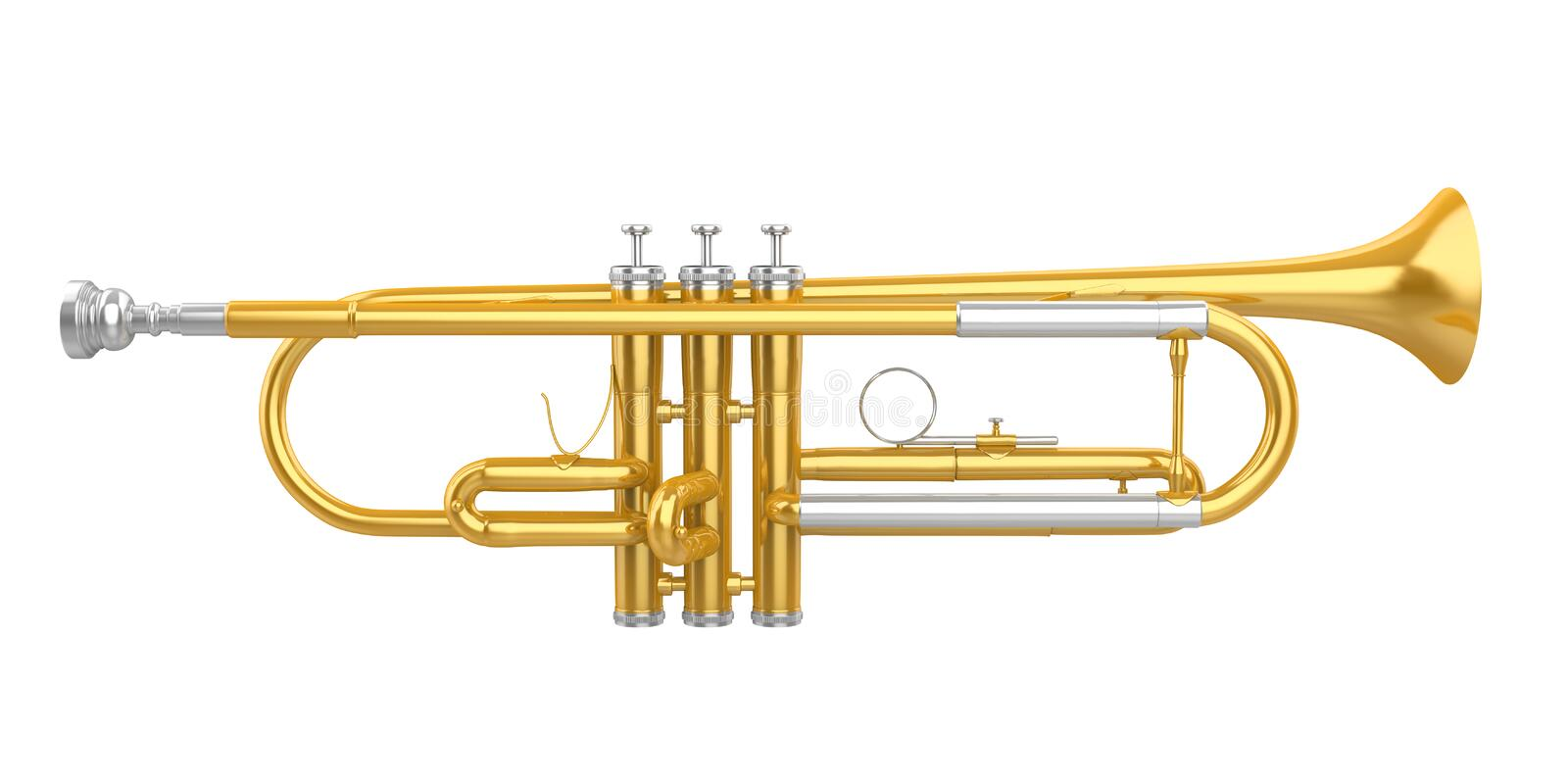 Trumpet Isolated. On white background. 3D render royalty free illustration