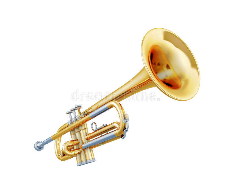Trumpet isolated on a white. Background. 3d illustration. Music instruments series stock illustration
