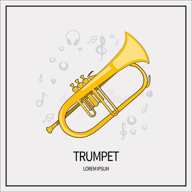 Trumpet isolerad symbol stock illustrationer