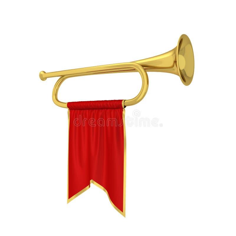 Trumpet med banret royaltyfri illustrationer