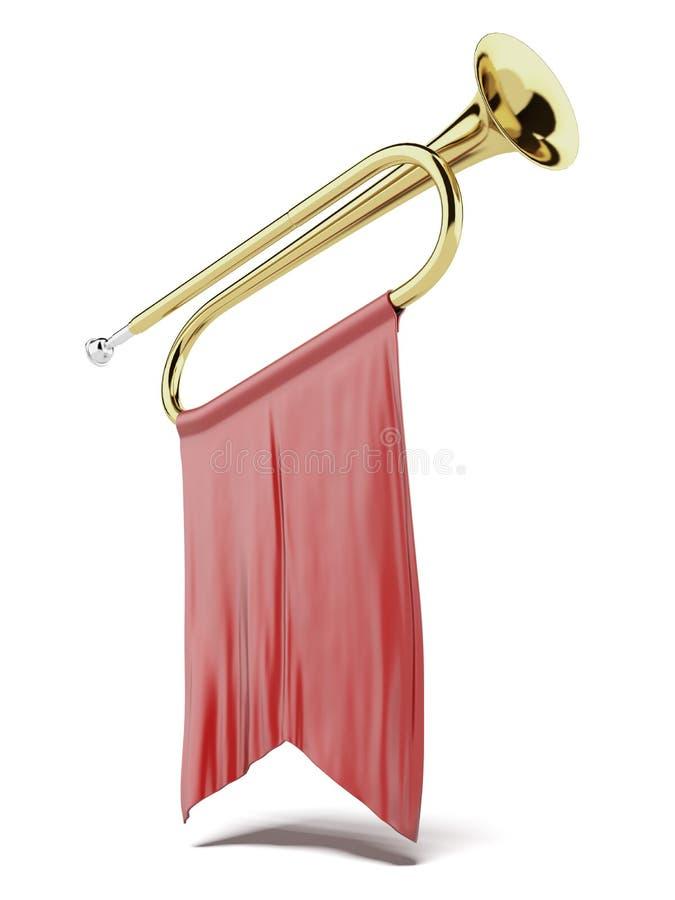 Trumpet med en röd flagga royaltyfri illustrationer