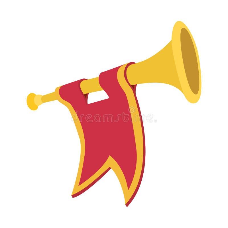 Trumpet med tecknade filmen för röd flagga stock illustrationer