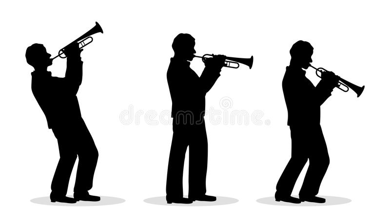 Trumpet men. Sequence of trumpet man silhouette playing royalty free illustration
