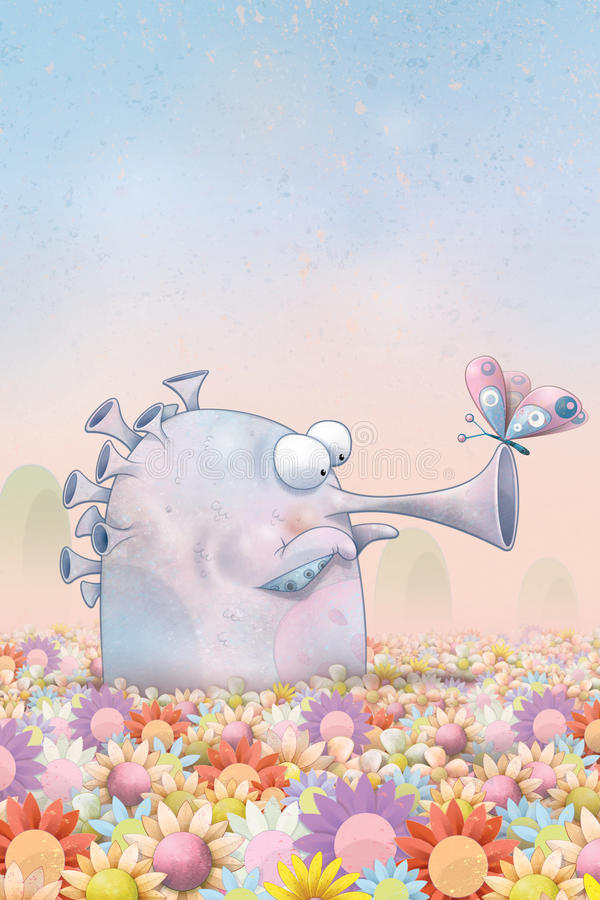 Free Trumpet Monster And Butterfly Stock Photography - 17110432