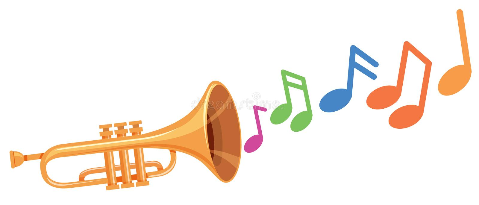A trumpet with music note. Illustration stock illustration
