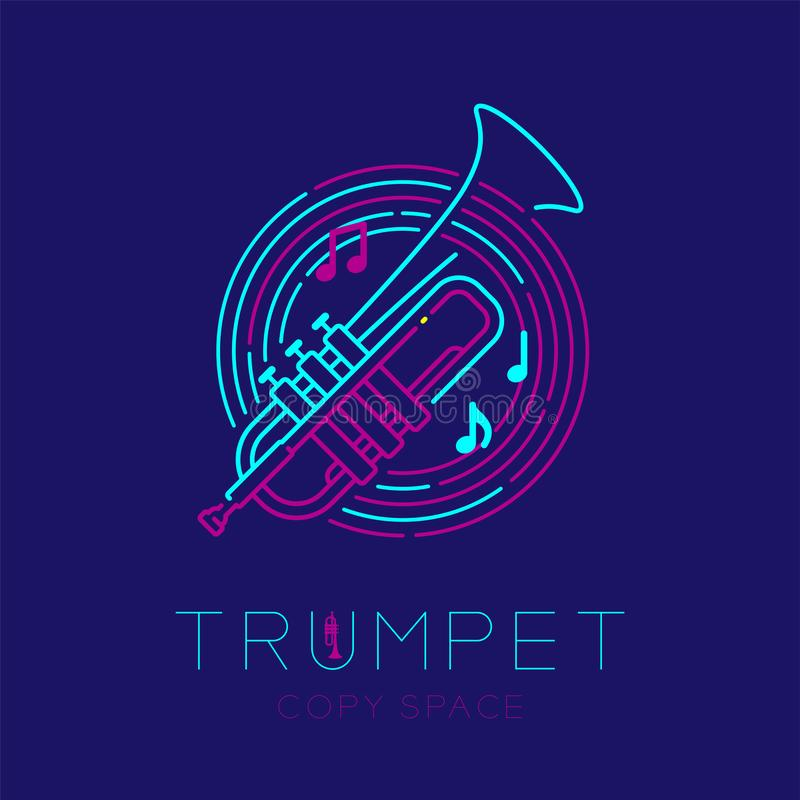 Trumpet, music note with line staff circle shape logo icon outline stroke set dash line design illustration isolated on dark blue. Background with saxophone royalty free illustration