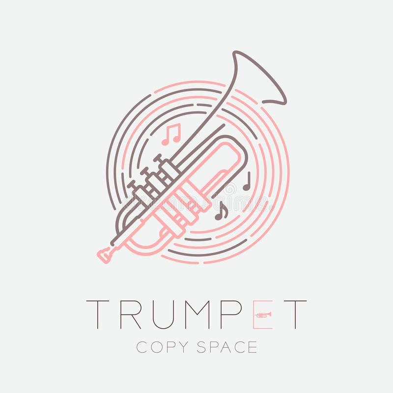 Trumpet, music note with line staff circle shape logo icon outline stroke set dash line design illustration isolated on grey. Background with saxophone text and vector illustration