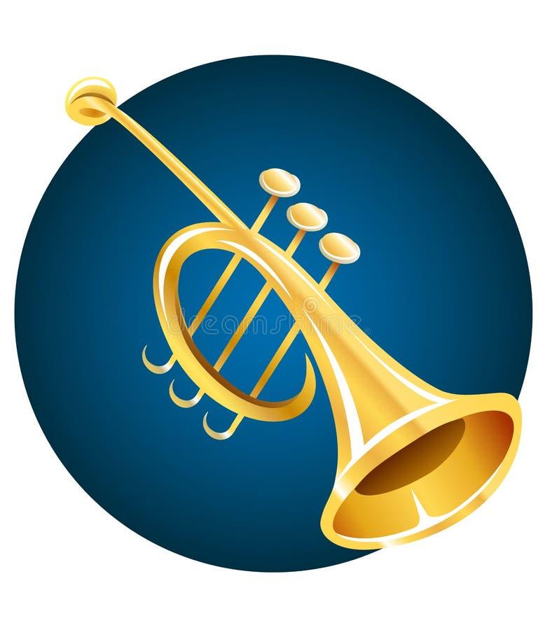 Trumpet musical instrument. Illustration, isolated on white background royalty free illustration