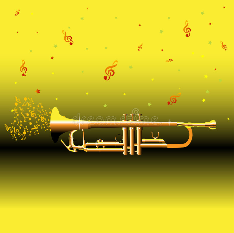 Trumpet and musical notes. Abstract colorful illustration with golden trumpet and musical notes royalty free illustration
