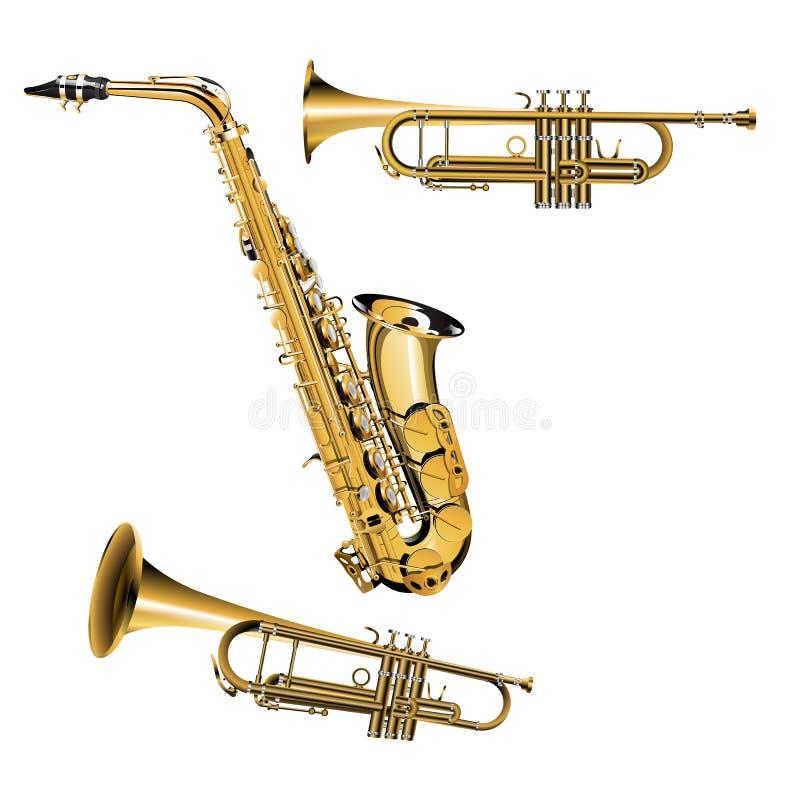 Trumpet och saxofon stock illustrationer