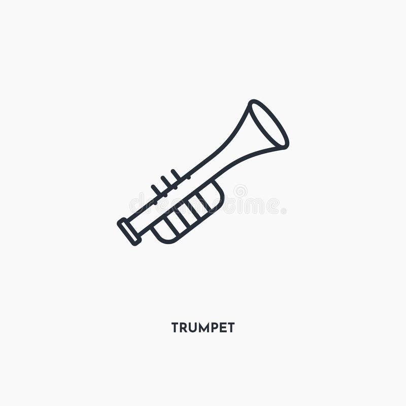Trumpet outline icon. Simple linear element illustration. Isolated line trumpet icon on white background. Thin stroke sign can be royalty free illustration