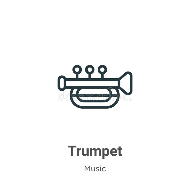 Trumpet outline vector icon. Thin line black trumpet icon, flat vector simple element illustration from editable music concept royalty free illustration