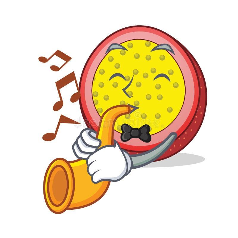 With trumpet passion fruit mascot cartoon. Vector illustration royalty free illustration