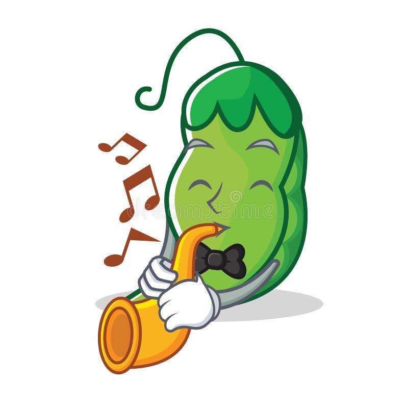 With trumpet peas mascot cartoon style. Vector illustration vector illustration