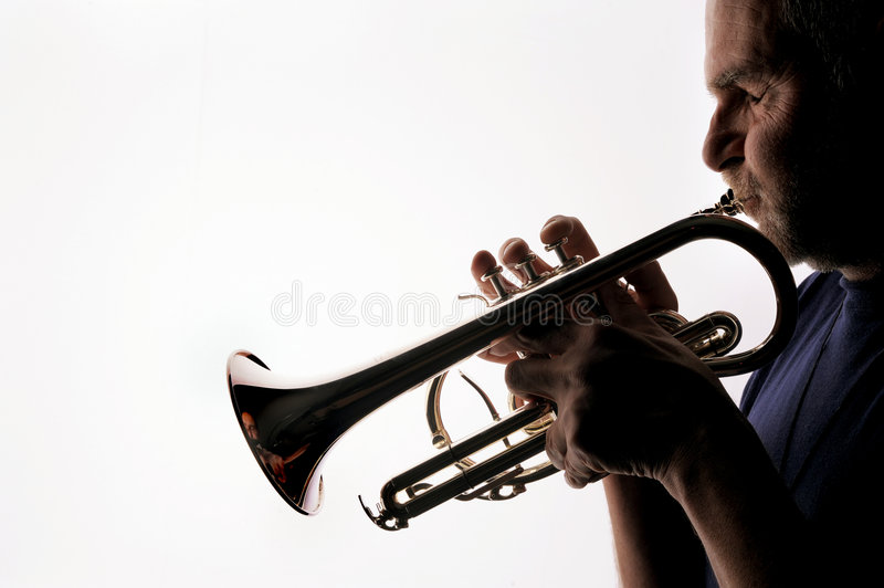 Trumpet player 05 royalty free stock image
