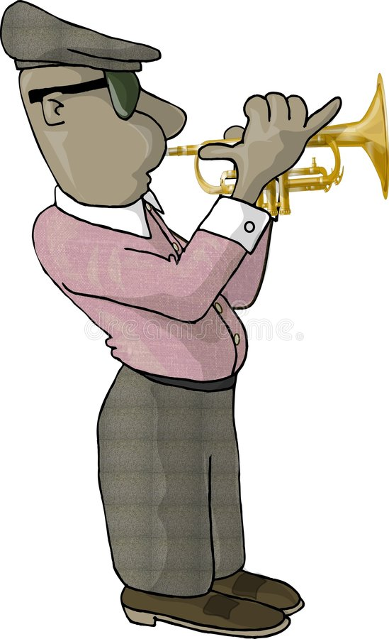 Trumpet player royalty free illustration