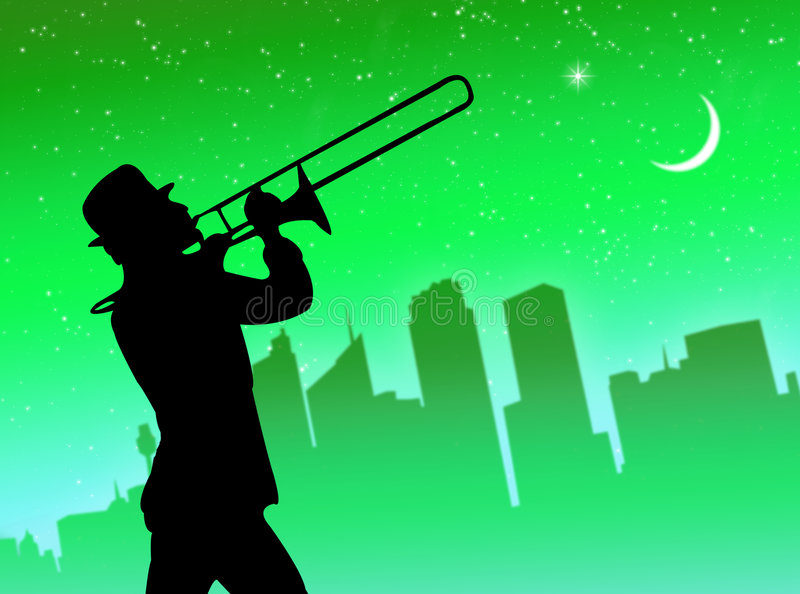 Download Trumpet player in the city stock illustration. Illustration of background - 7547253