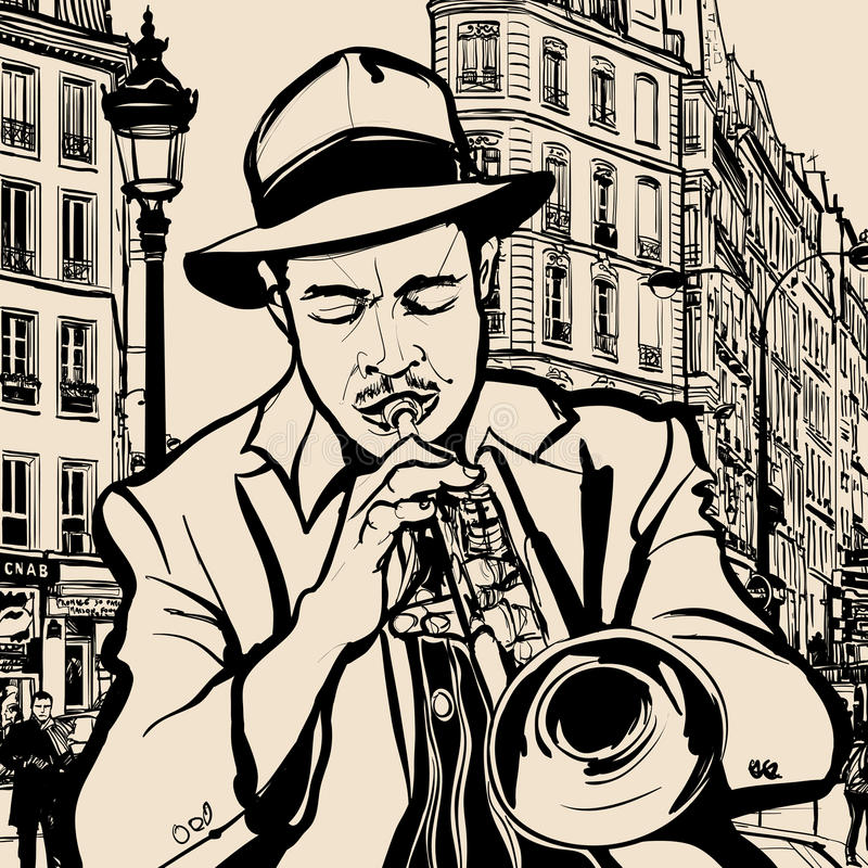 Trumpet player on a cityscape background. Illustration of a trumpet player on a cityscape of Paris background royalty free illustration