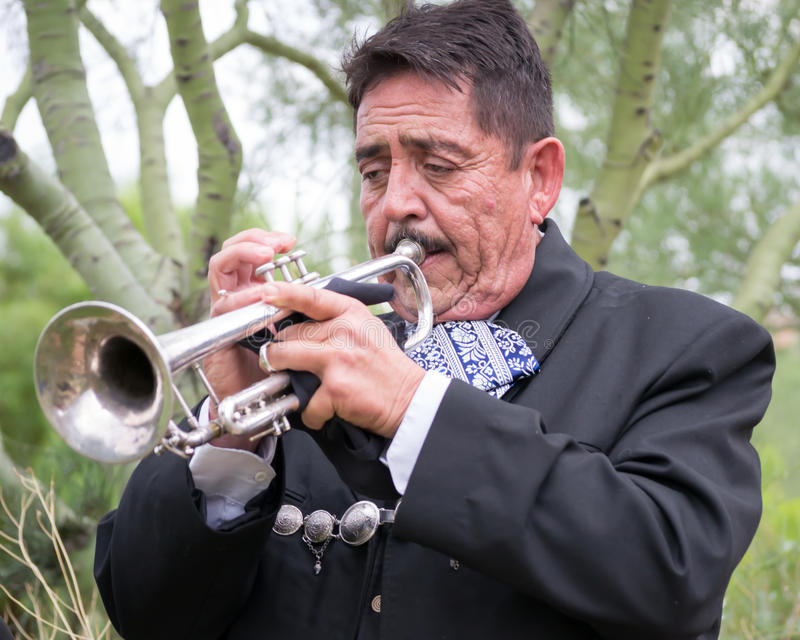 Trumpet Player royalty free stock images