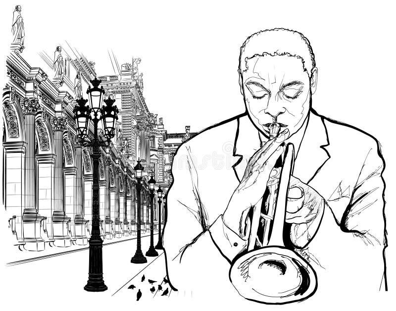 Trumpet player in Paris royalty free illustration