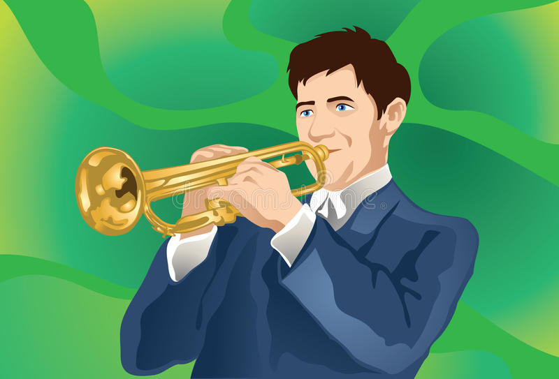 Trumpet Player At Work!. An image of a man dressed in a slate gray suit playing the trumpet royalty free illustration