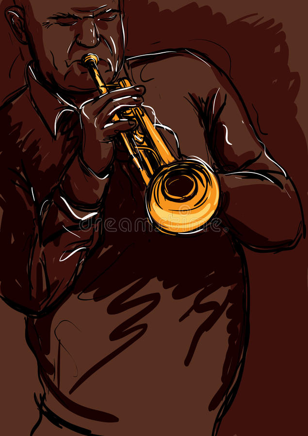 Download Trumpet playng stock vector. Image of entertain, blues - 24597496