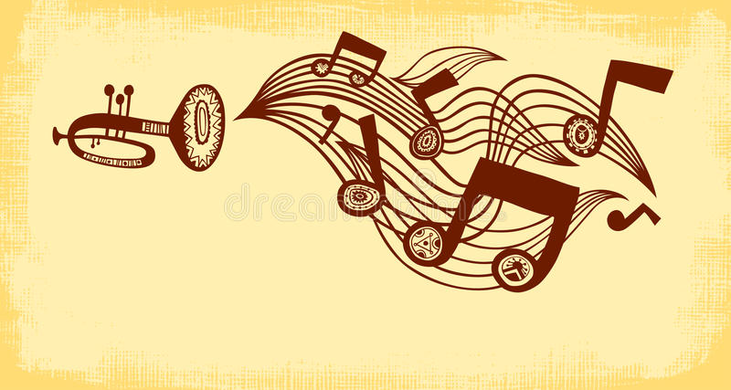 Trumpet plays music. Horizontal background vector illustration