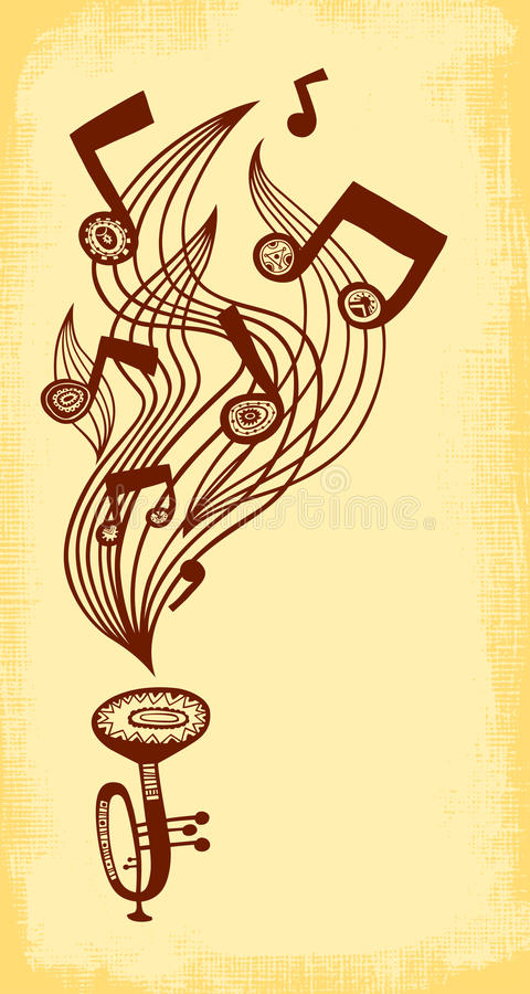 Trumpet plays music. Vertical background vector illustration