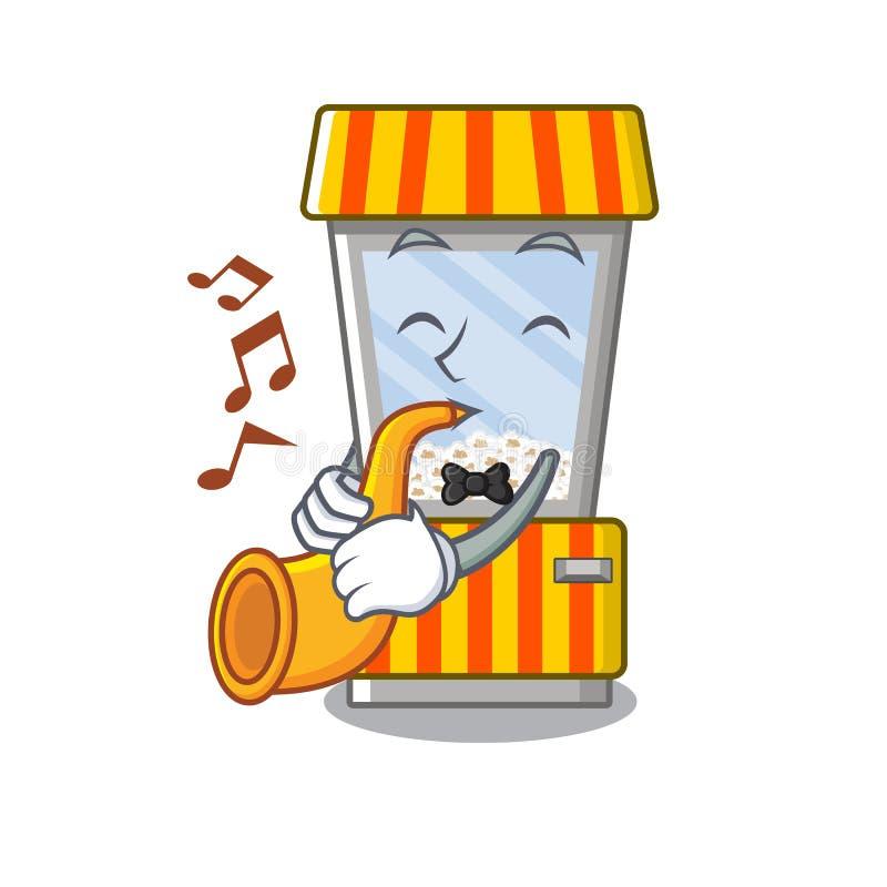 With trumpet popcorn vending machine is formed cartoon. Illustration vector vector illustration