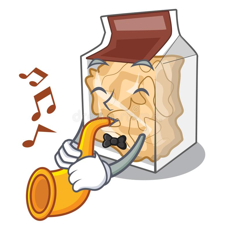 With trumpet pork rinds in the mascot shape royalty free illustration