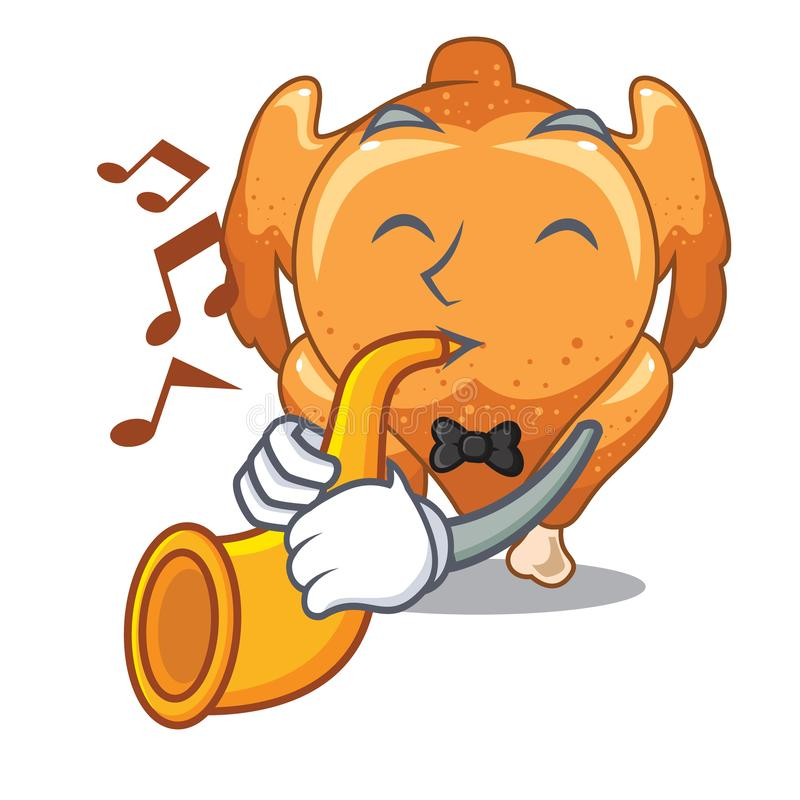 With trumpet rchicken roast is isolated with characters royalty free illustration