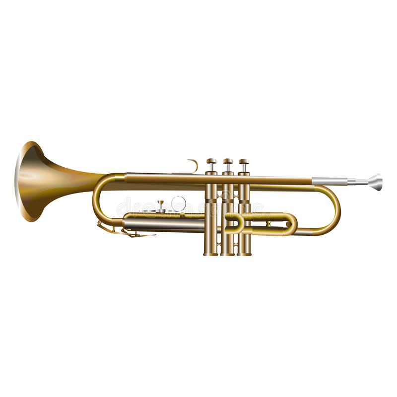 Trumpet. Realistic vector illustration isolated on white background stock illustration