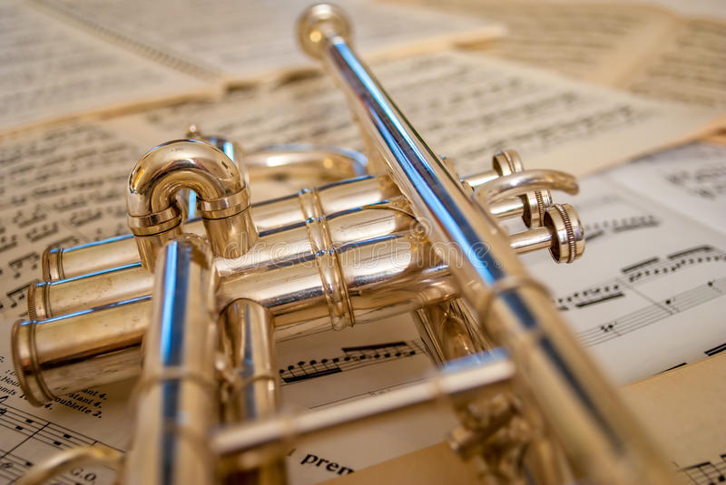 Trumpet reflections royalty free stock photography