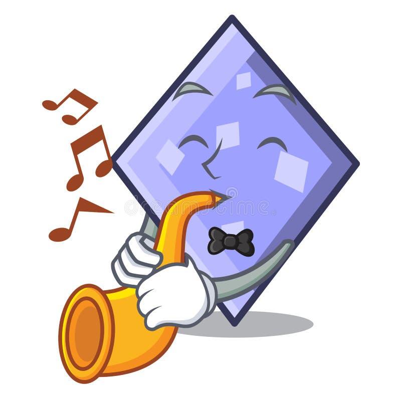 With trumpet rhombus mascot cartoon style. Vector illustration vector illustration