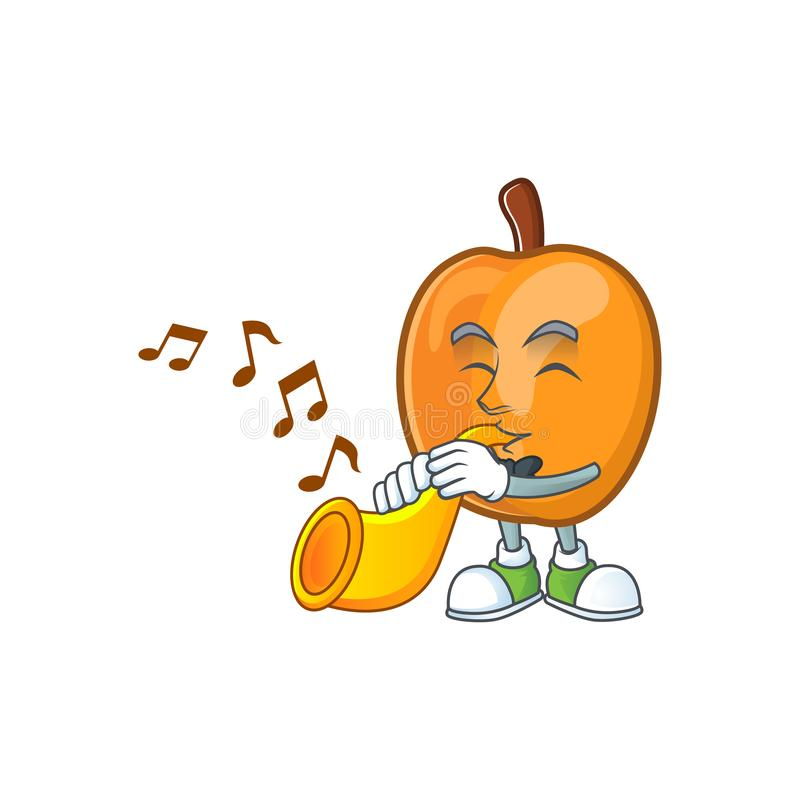 With trumpet ripe apricot character mascot of cartoon. Vector illustration vector illustration