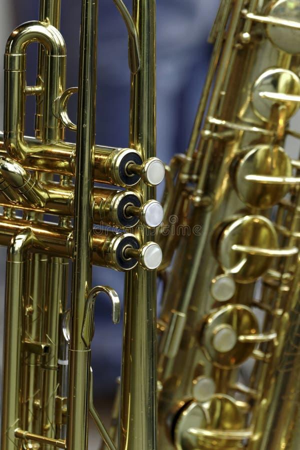 Trumpet & Saxophone royalty free stock image
